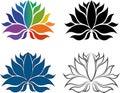 Uppsättning av lotus flower icons logos Arkivbilder