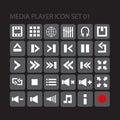 Uppsättning för symbol för massmediaspelare Fotografering för Bildbyråer