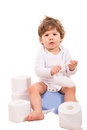 image photo : Upset baby on potty