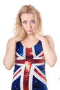 Upset blonde wearing union-flag shirt Stock Images