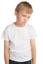 Upset boy young showng an expression of sadness and sorrow isolated Stock Photography