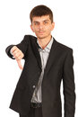 Upset business man give thumb down giving isolated on white background Stock Photo