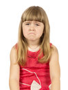 Upset little girl on the white background Royalty Free Stock Photography