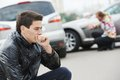 Upset man after car accident Royalty Free Stock Photo