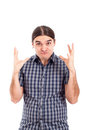 Upset man gesture Stock Photo