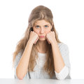 Upset woman portrait of girl with grouch isolated on white background Royalty Free Stock Images