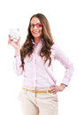 Upset woman wearing glasses holding piggy bank expensive eyewear concept young female business isolated on white Royalty Free Stock Images