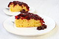Upside down cake cherry cornmeal Royalty Free Stock Photography
