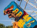 Upside down fair goers are tossed on this midway carnival ride Royalty Free Stock Photography