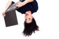 Upside down photo girl using laptop computer Royalty Free Stock Photo