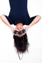 Upside down photo young woman holding binoculars Royalty Free Stock Photos