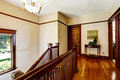Upstairs hallway with hardwood floor and staircase view of balustrade Royalty Free Stock Photography