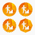 Upstairs icon. Human walking on ladder sign. Royalty Free Stock Photo