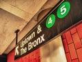 Uptown ad Bronx subway sign, Manhattan, New York Royalty Free Stock Photo