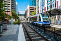 Uptown charlotte north carolina october the popular area transit system servicing million yearly trips seen here arriving at Stock Photo