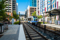Uptown charlotte north carolina october the popular area transit system servicing million yearly trips seen here arriving at Royalty Free Stock Image