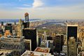 Uptown manhattan skyline with a view of central park facing in new york city Royalty Free Stock Images