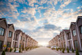 Uptown sunset street block new houses line at Royalty Free Stock Image