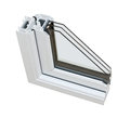 UPVC triple glazing cross section Stock Image