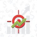 Upward chart with target symbol financial success abstract vecto