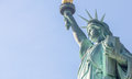Upward side view of Statue of Liberty, NYC Royalty Free Stock Photo