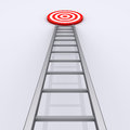 Upwards is the way to success d ladder with target on top of it Royalty Free Stock Photography