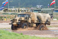 URAL-43206 truck passes a water obstacle Stock Photo