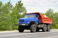 Ural chelyabinsk region russia may blue dump truck at the interurban road Stock Images