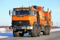 Ural novyy urengoy russia february orange oil field service truck at the city street Royalty Free Stock Photos