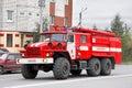 Ural novyy urengoy russia september red firetruck at the city street Stock Photo