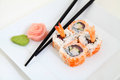 Uramaki tuna and shrimp traditional japanese sushi rolls Royalty Free Stock Image