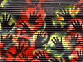 Aborigine painting on corrugated iron wall Royalty Free Stock Photo