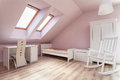Urban apartment girls room interior of a pink girl s Stock Photography