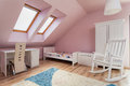 Urban apartment pink room on the attic Royalty Free Stock Image