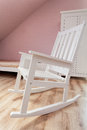 Urban apartment rocking chair white in girl s room Royalty Free Stock Photo