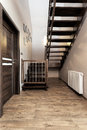 Urban apartment - wooden stairs Royalty Free Stock Photo