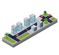 Urban area isometric view of the on the white background Stock Image
