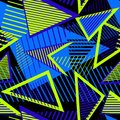 Urban art sport abstract pattern with neon elements, lines, triangles, stripes.