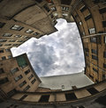 Urban backyard old photographed with fisheye for dramatic look Stock Photography