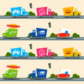 Urban cargo trucks vector seamless pattern in simple kids style Royalty Free Stock Photo