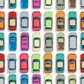 Urban cars seamless texture. Vector background