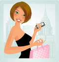 Urban chic- brunette Royalty Free Stock Images