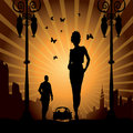 Urban city free love man woman car Stock Images