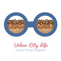 Urban city life vector illustration Royalty Free Stock Photography