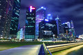 Urban cityscape in singapore at night Royalty Free Stock Image