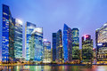 Urban cityscape in singapore at night Royalty Free Stock Photos