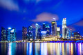 Urban cityscape in singapore at night Stock Photo