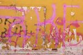 Urban Concrete Graffiti Wall With Peeled Paint And Ripped Ads Royalty Free Stock Photo