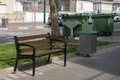 Urban equipment benches for public use on the streets of a city in israel Royalty Free Stock Photos