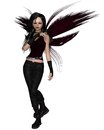 Urban fairy dressed in black with red wings d digitally rendered illustration Stock Photos
